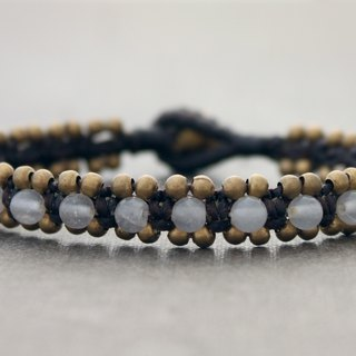 Beaded Stone Bracelets Smoky Quartz Woven Hemp Cotton Cord Bracelets