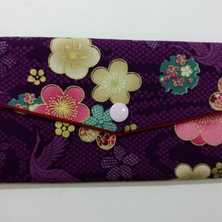 Lucky double red envelope bag / passbook storage bag (02 plum and crane - purple)