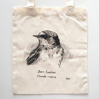 Pure hand-painted bird cotton shopping bag ‧ swallow