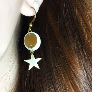 Can change the clip - brass geometric earrings - good star sunny - a single branch