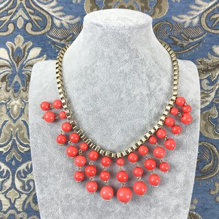 Gorgeous Orange Beaded Antique Necklace BKA110