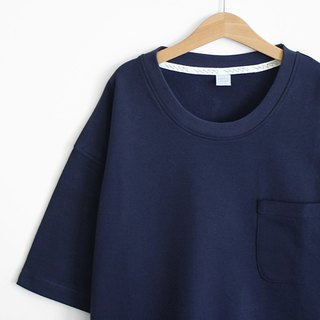 Loose-down shoulder hem open-back style Zhang Qing thick plain pocket Tee