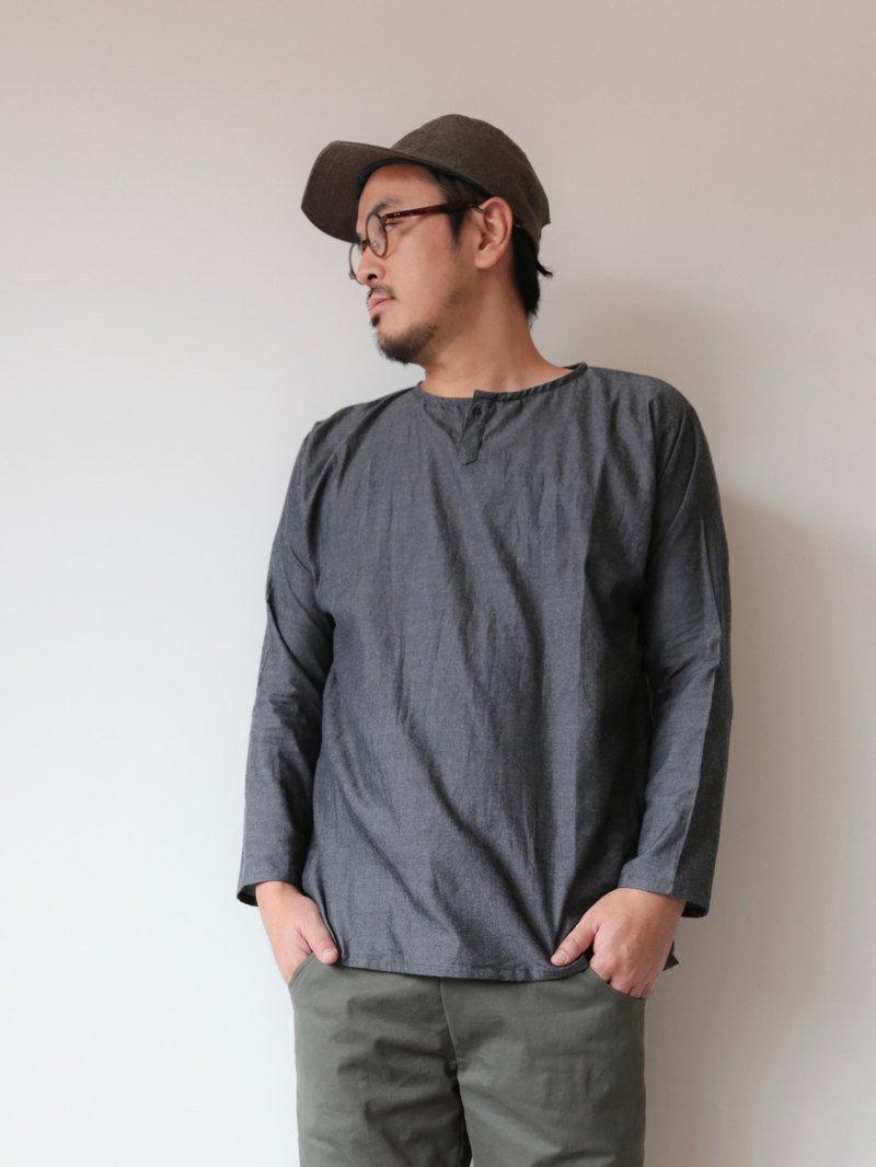OMAKE Original free top single button shirt top / dark grey