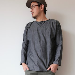 OMAKE OG free top single button shirt top / dark grey