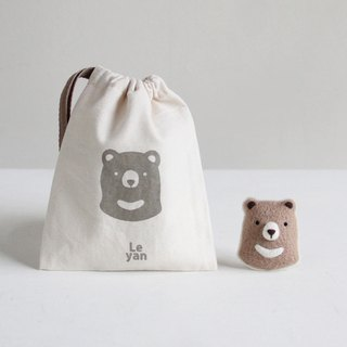 Le Yang, good fun wool felt material bag - chocolate bear Bell pin