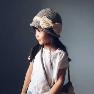 Bow elegant ladies hat child size hand-woven wool cap