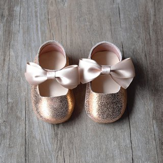 Rose Gold Leather Baby Shoes, Toddler Girl Shoes, Flower Girl Shoes