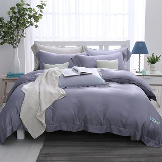 (Double) Mengmeng Twilight-Solid color design Tencel dual-use bedding package four-piece group [60 Tencel]