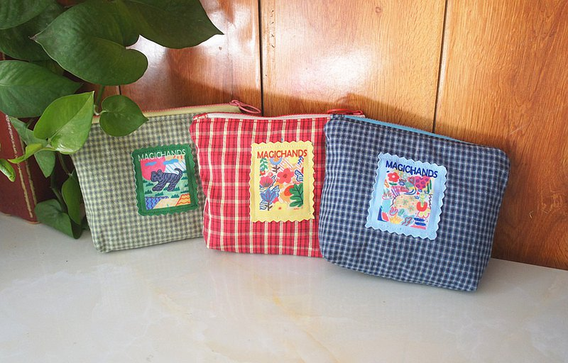 Hand-made illustration plaid cotton gift coin purse cosmetic bag