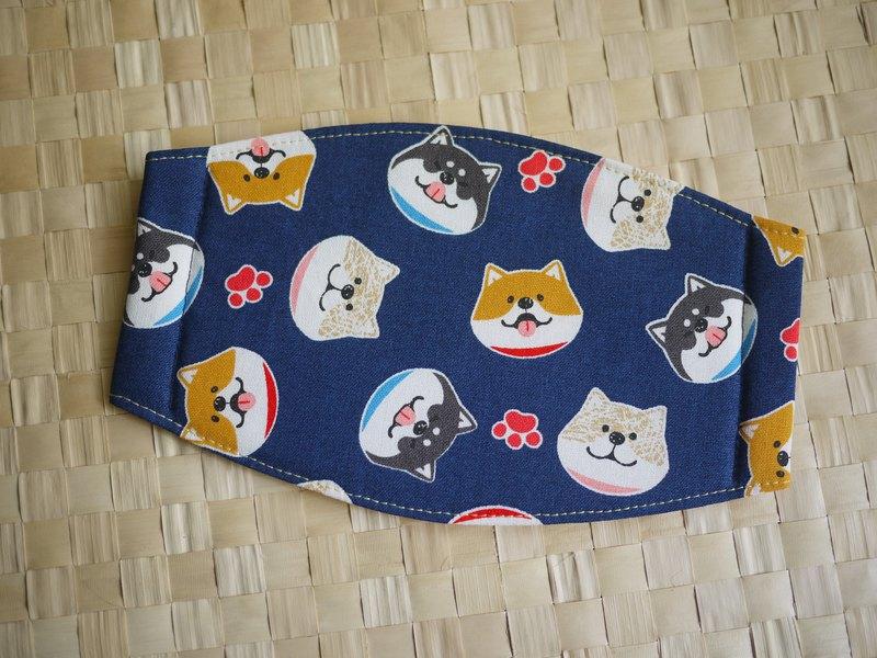 手作訂製=日常必備小物=手作口罩=微笑柴犬=藍
