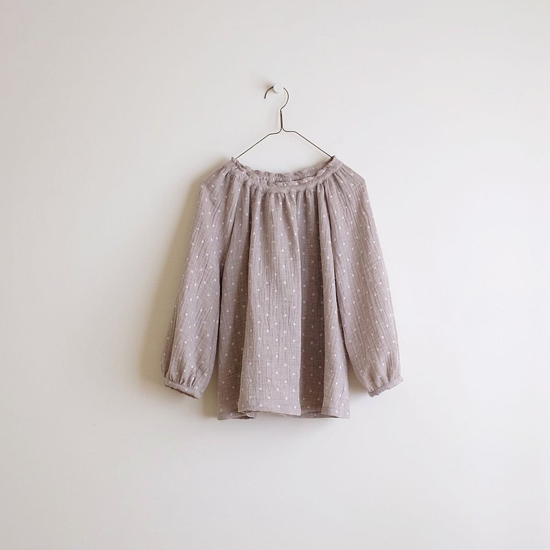 Daily hand-made clothes cocoa water jade bubble sleeve elastic blouse cotton double yarn
