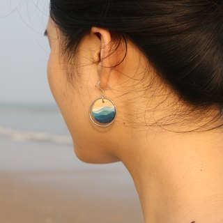 Blue Ocean Round Ceramic Earrings Ear Clips in Sterling Silver