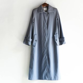 River water - Nagano gray blue youth poetry antique thin material windbreaker coat sheep wool coat coat trench_coat dustcoat