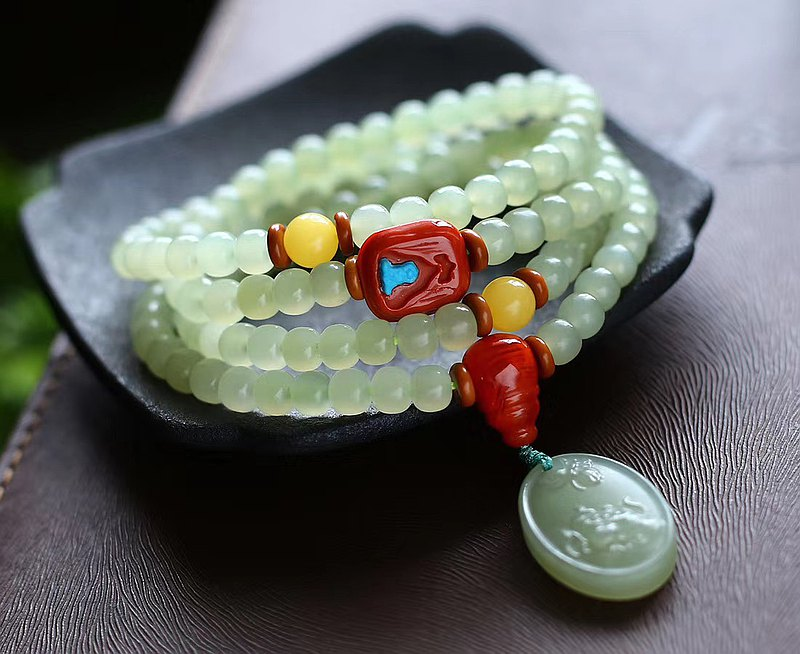 Need Natural Hetian Yuqing Water Material Old Type Bead Multi-Circle Bracelet Embellish Hetian Jade Butterfly Love Flower