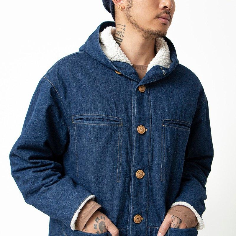 日系做舊牛仔復古連帽羔羊絨多口袋工裝大衣外套