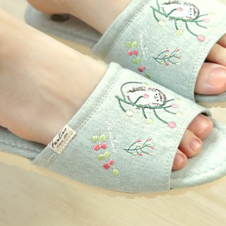 Organic cotton color embroidery indoor slippers (color dandelion) twist green