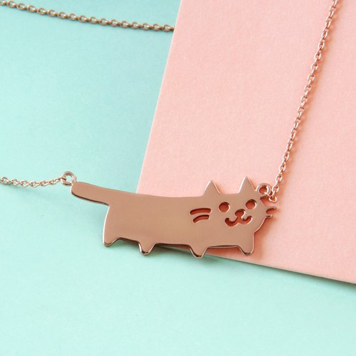 Cat Necklace in 925 Sterling Silver with Rose Gold plating