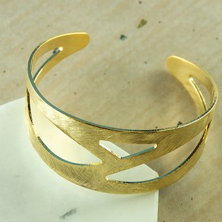 Edith & Jaz • Brushed Mesh Cuff Bangle - Gold Color