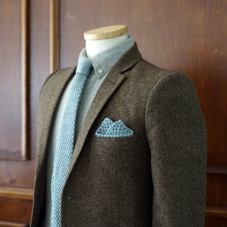 Grey Knitted Tie Wool with pocket square (no Crafted box)