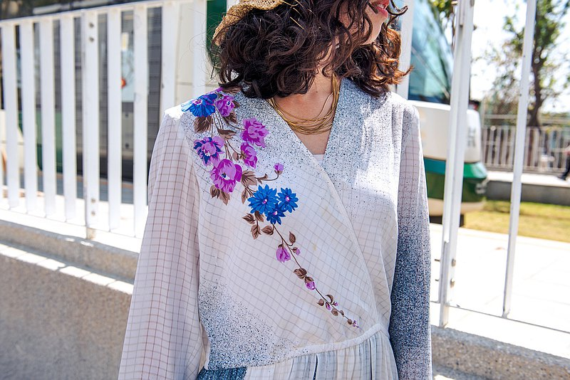 Vintage 白色花串洋裝