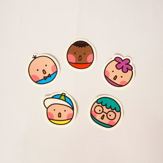 Round little boy stickers