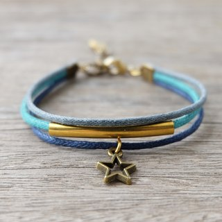 Mint/Navy/Gray waxed cord bracelet with brass star