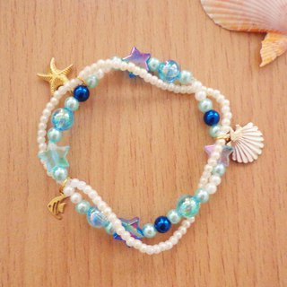 Beauty Deep Blue For Ocean Bracelet in 2 Threads Fresh Breeze on a Beach
