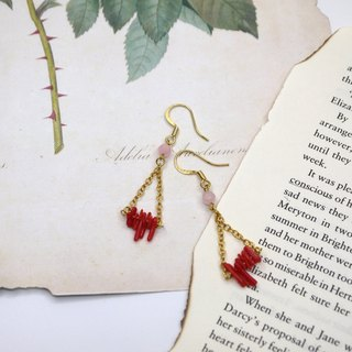 Hi Red Natural Coral Drop Earrings Ear Clips
