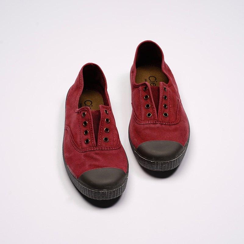 西班牙帆布鞋 CIENTA U70777 82 酒紅色 黑底 洗舊布料 大人