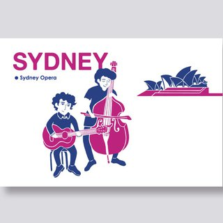 little ship Travel Illustration Postcards Sydney Series │ Sydney Opera House Sydney Opera
