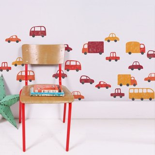 Puff car cloth wall stickers (red)