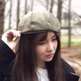 No friends alone // hand made cap material / / suede beret - green oath