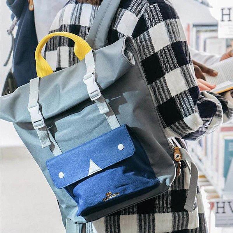 【春季好物】 MARMANSK Hvaldimi 捲蓋式後背包 - Grey & Blue