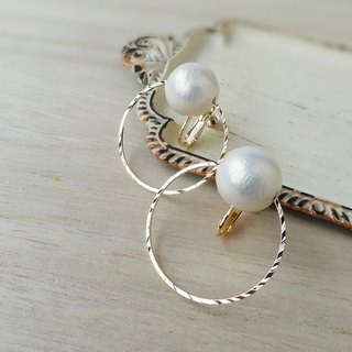Ring and cotton Pearl Earrings