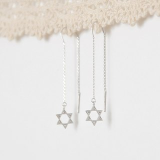 armei 閃爍六芒星 耳綫耳環 Shiny Star of David Earrings