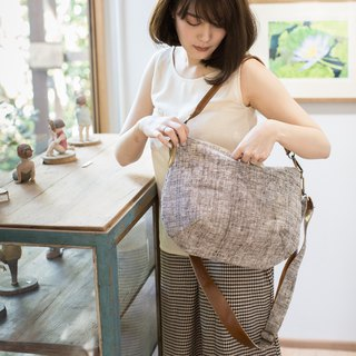 Cross-body Sweet Journey Bags M size Botanical Dyed Cotton Natural - Brown Color