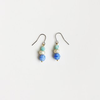 Seasonal natural stone glass beaded earrings with a fluffy scarf