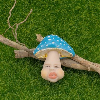 Soft clay fun mushroom brooch