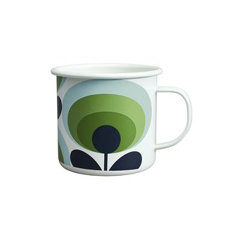 British import Wild & Wolf and Orla Kiely joint design 珐琅 mug (green apple blossom)