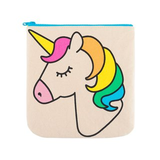 Canadian Fluf Organic Cotton Zipper Bag/Cosmetic Bag--Rainbow Unicorn