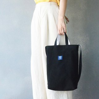 Two-color canvas three-use bag _ black + white
