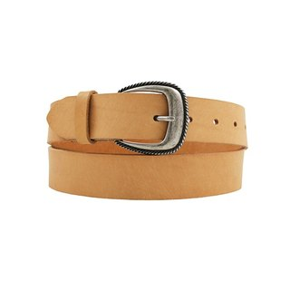 FULLGRAIN │ Italian vegetable tanned leather leather belt 3.5cm - bright silver flower buckle