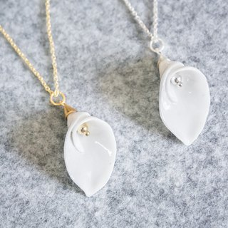 Calla Lily necklace - white porcelain - sterling silver (925)