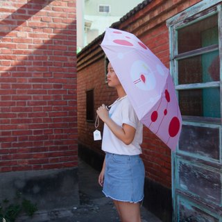 Rainbow House falls into rabbit heart rain rain umbrella - flamingo (safe open)