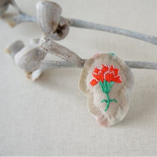 Hand embroidery broach carnation red (order-receiving)