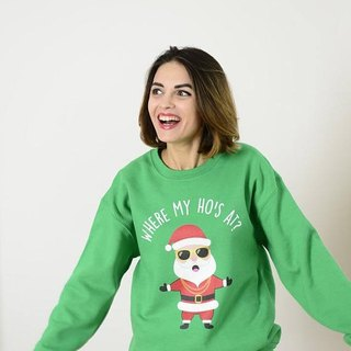 "Ugly Christmas Sweater Crewneck - Holiday Sweater / Women or Men ""Where My Ho's At?"