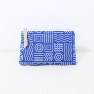 【The MAMA's Closet】Two Colors Denim Cotton (Geometry) / Cosmetic Bag ( Pouch )