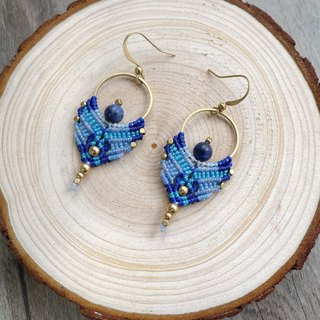 Misssheep-A81-ethnic style South American wax line braided blue stone brass bead earrings (rotatable ear clip)