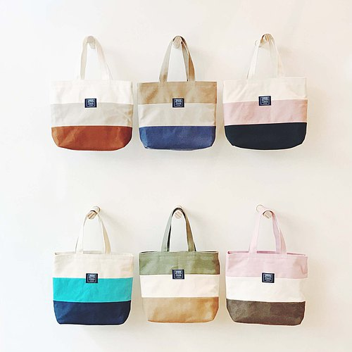 :: :: Bangs tree mixed colors portable small tote bag _ dark green coffee m