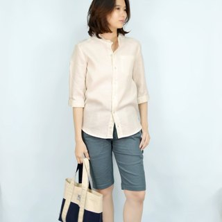 [] HIKIDASHI neutral section flat collar shirt. Beige anesthesia
